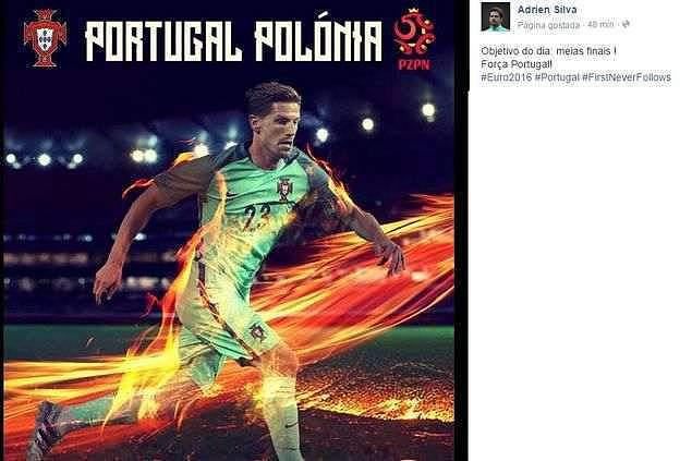 Mensagem de Adrien antes do Portugal-Polónia