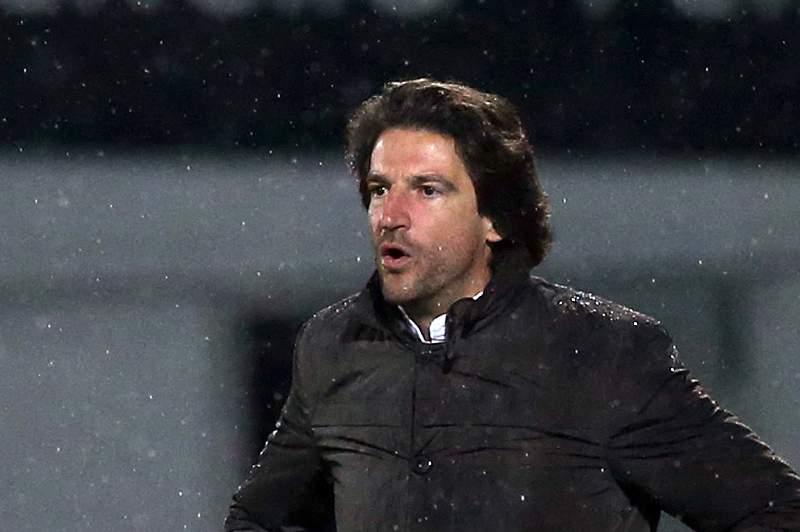 Jorge Simão durante o jogo na Mata Real diante do Vitória de Guimarães