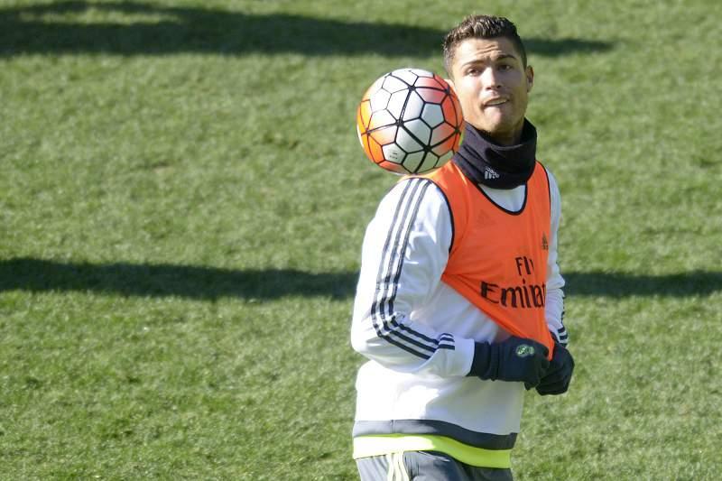 Cristiano Ronaldo durante um treino do Real Madrid