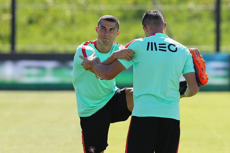 Cristiano Ronaldo no treino da seleção