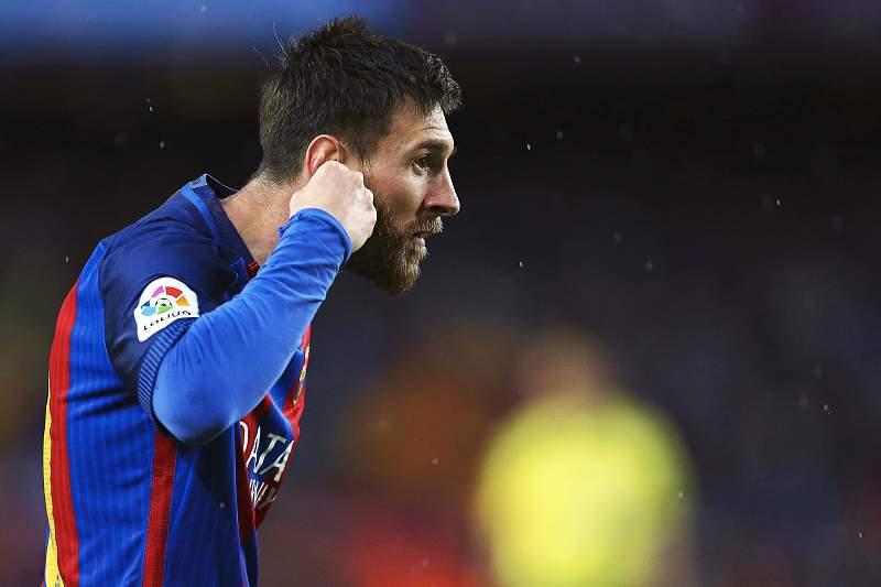 Lionel Messi celebra o golo do Barcelona diante do Sevilha