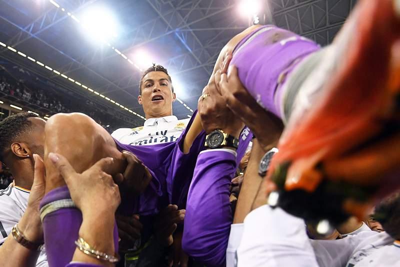Cristiano Ronaldo em festa com a conquista da Liga dos Campeões em Cardiff