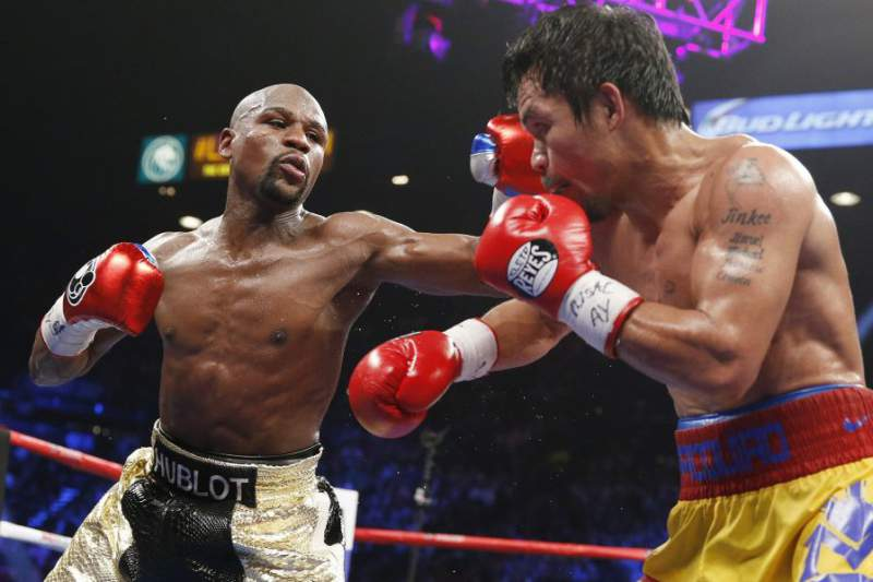Floyd Mayweather vs Manny Pacquiao no combate do
