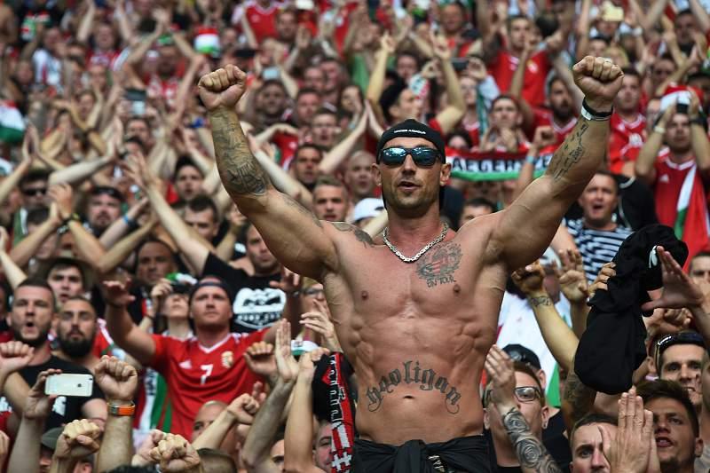 Adepto húngaro durante o jogo com a Islândia no Euro2016