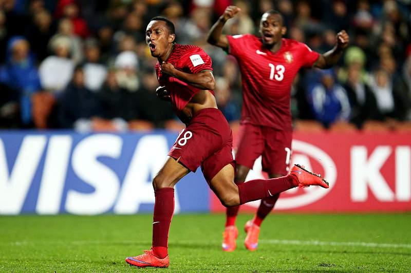 Gelson Martins festeja um golo contra a Nova Zelândia no Mundial sub-20, em Hamilton, Nova Zelândia. JOEL FORD/LUSA