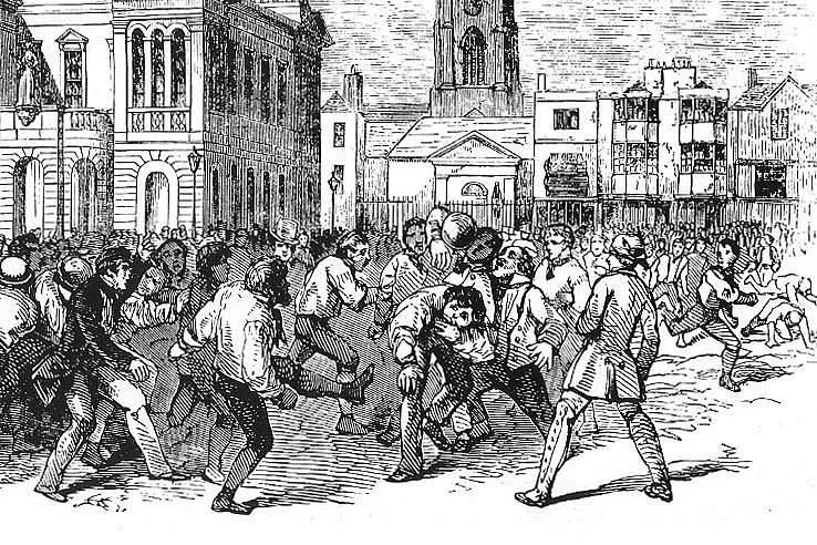 Um jogo de futebol disputado em em Kingston, Londres, entre equipas de Thames e Townsend durante o ano de 1846