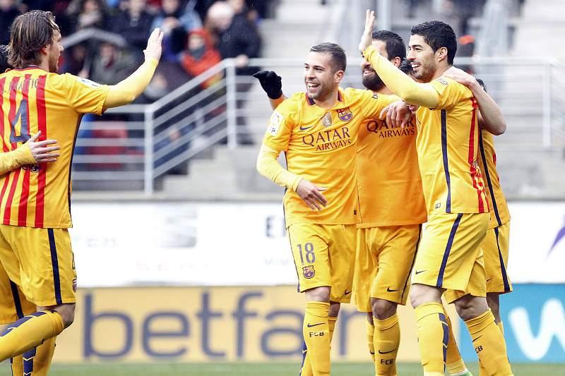 Barcelona festeja golo marcado ao Eibar