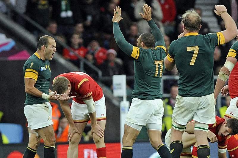 Fourie Du Pree celebra o ensaio que deu a vitória da África do Sul sobre o País de Gales