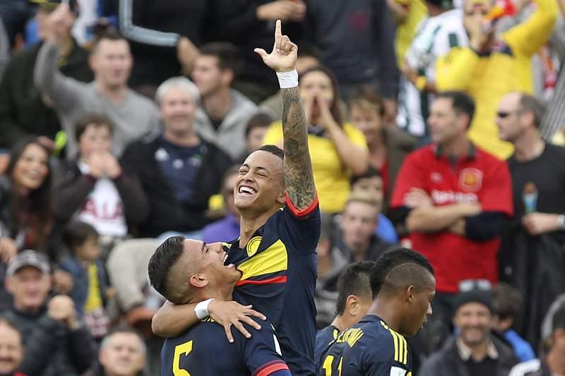 João Rodriguez celebra um golo pela Colômbia no Mundial de Sub-20 na Nova Zelândia