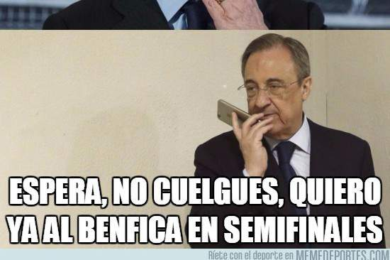 Meme do presidente do Real Madrid sobre o Benfica