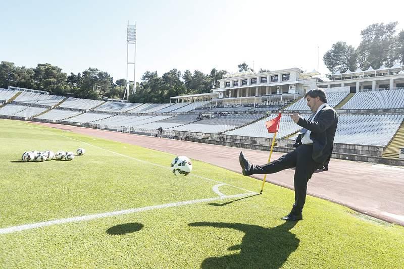 Bruno de Carvalho durante o treino de adaptação ao relvado do Jamor