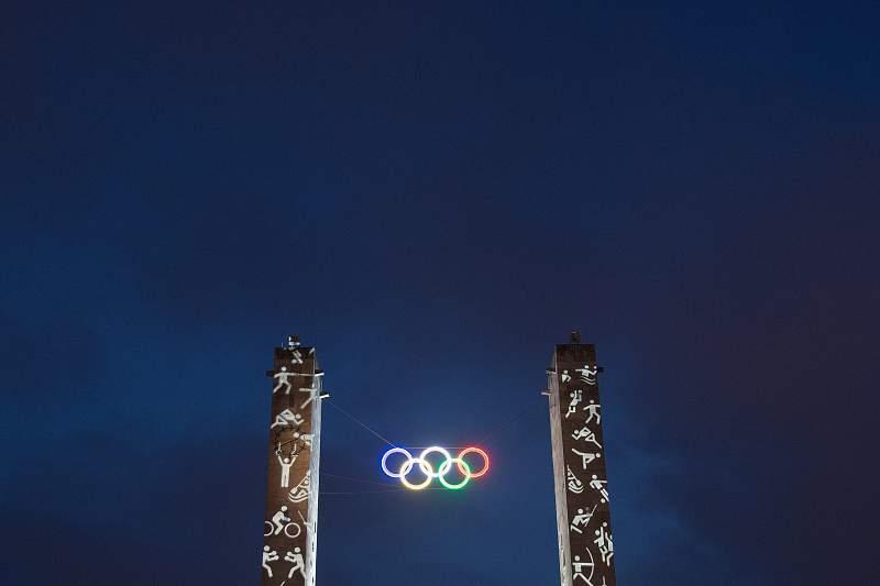 Olympic rings illuminated in Berlin