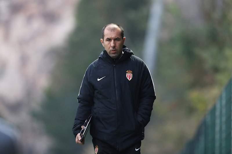 Monaco's Portuguese coach Leonardo Jardim arrives for a training session at the