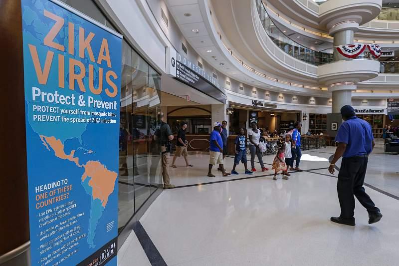 Zika Virus warnings at Hartsfield-Jackson Atlanta International Airport in Atlanta, Georgia, USA