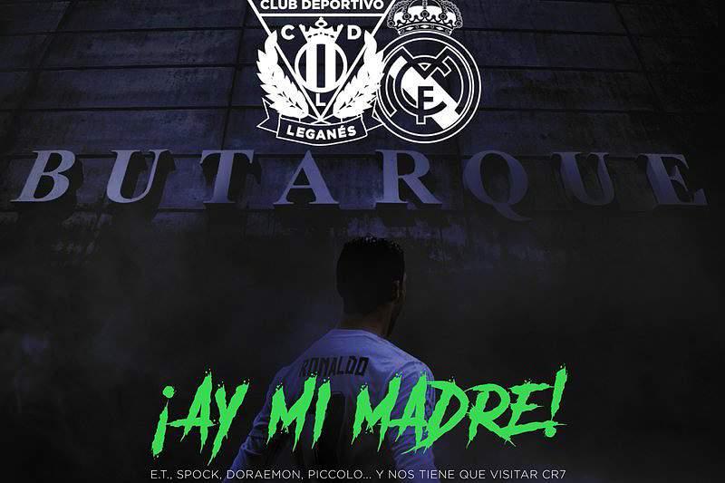 Cartaz do Leganés a promover o jogo com o Real Madrid