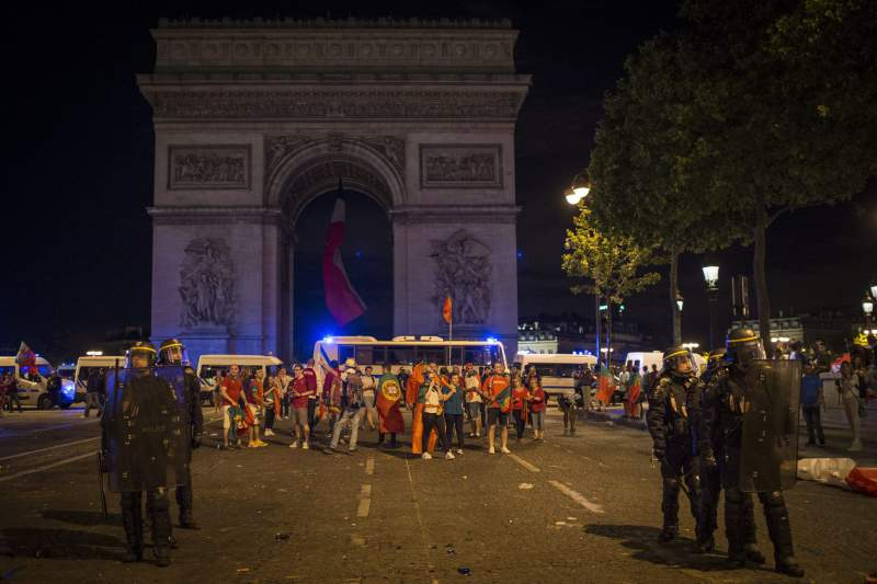 Portugal fans celebrate in the streets of Paris