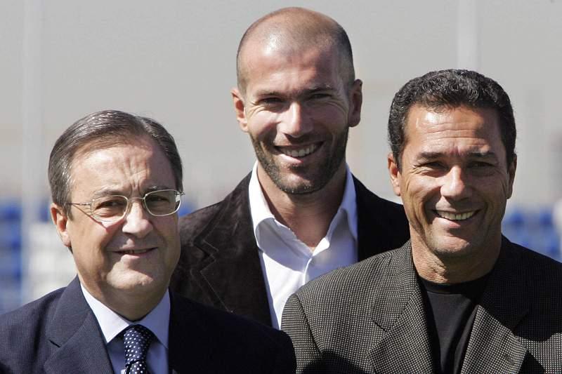 Florentino Pérez com Vanderlei Luxemburgo e Zinedine Zidane