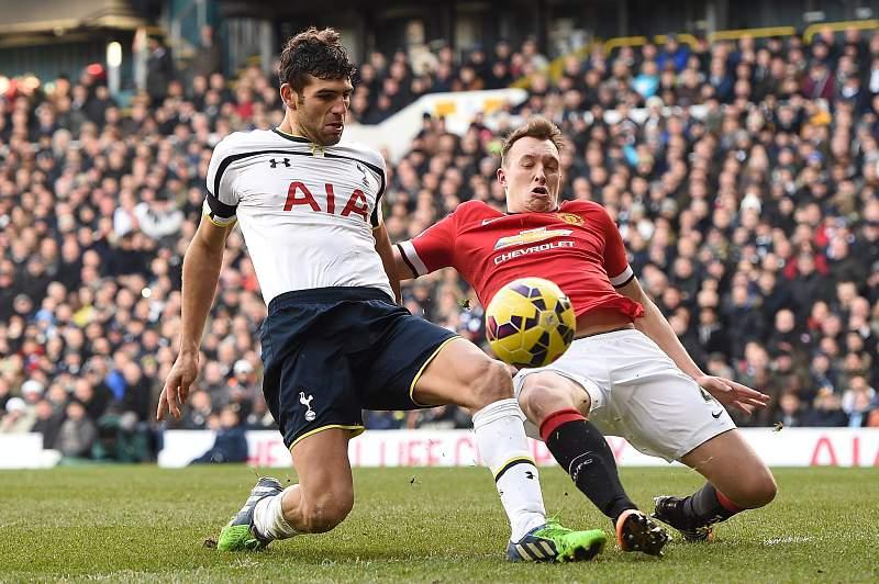 Federico Fazio disputa uma bola com Phil Jones durante um Tottenham x Manchester City