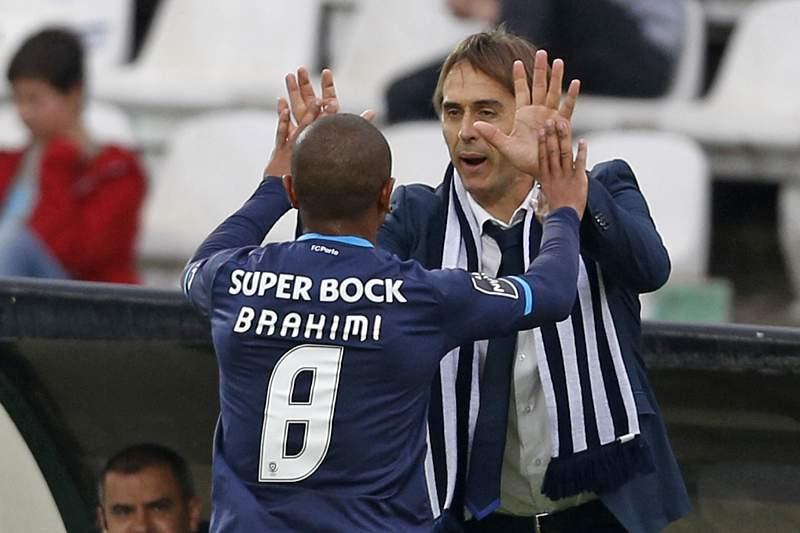 Brahimi celebra o golo no Bonfim com Lopetegui
