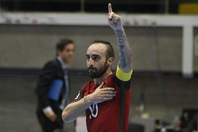 Portugal nos oitavos de final do Mundial de futsal, ao bater Uzbequistão POR 5-1. LUIS EDUARDO NORIEGA/LUSA
