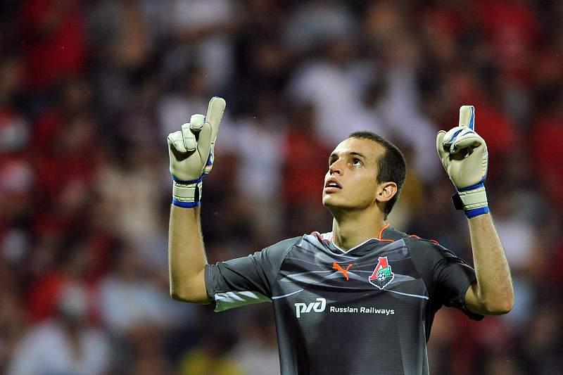 O guarda-redes brasileiro Guilherme Marinato, jogador do Lokomotiv Moscovo.