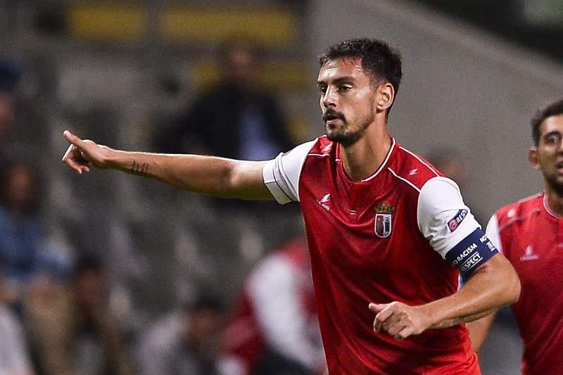 André Pinto celebra o golo do SC Braga frente ao Gent
