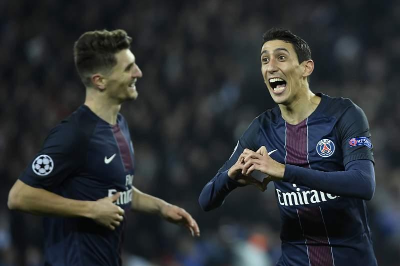 Di María celebra um dos golos do Paris Saint-Germain frente ao Barcelona