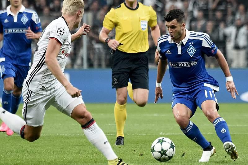 Junior Moraes em ação pelo Dínamo Kiev frente ao Besiktas
