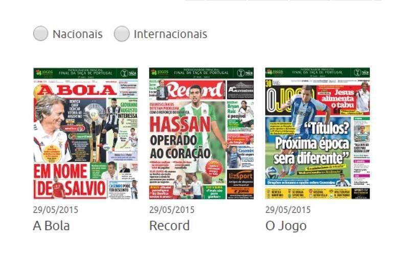 Jornais desportivos de 29/05/2015