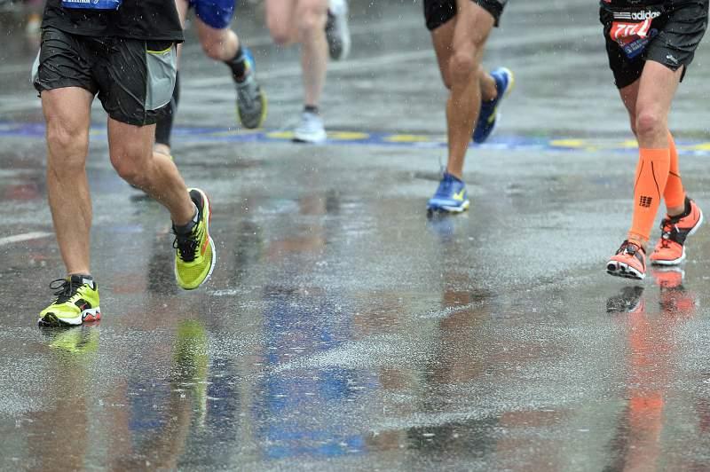 Corrida de Boston chuva