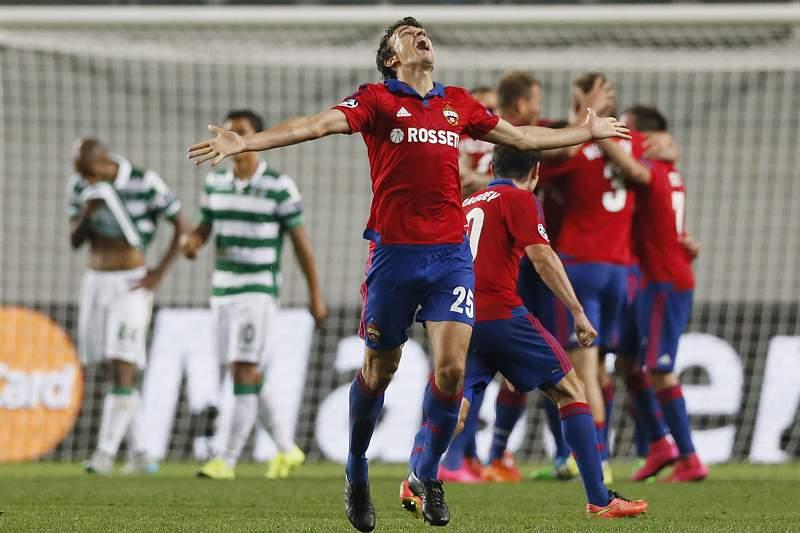CSKA festeja golo frente ao Sporting