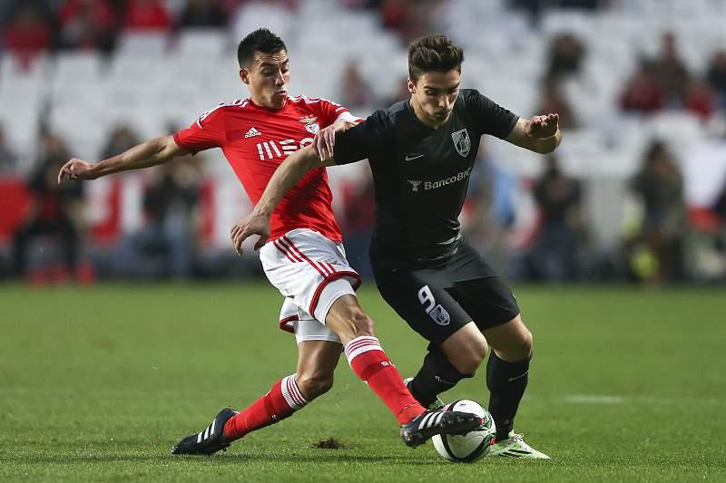 Gaitán durante um Benfica-V. Guimarães