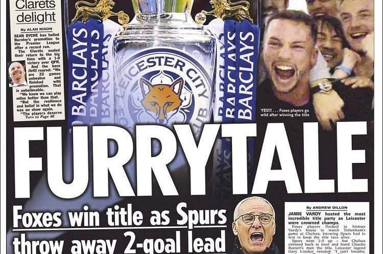 Capa de jornais com título do Leicester