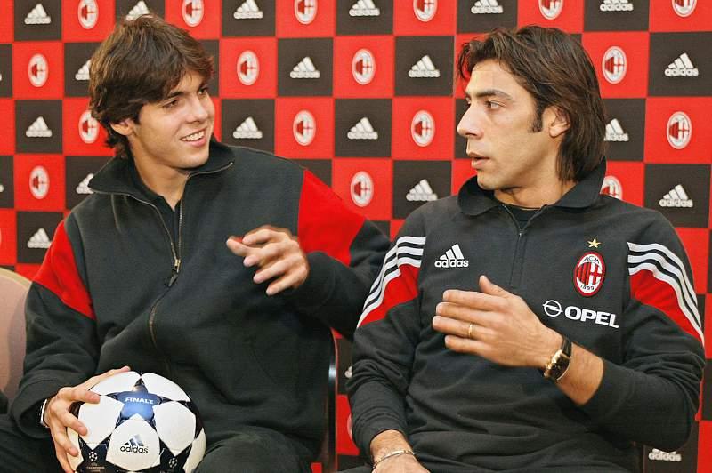 Kaká e Rui Costa nos tempos do AC Milan