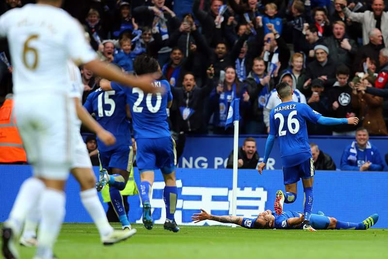 Leicester festeja golo