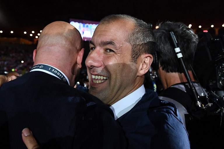 Leonardo Jardim durante os festejos do título de campeão francês