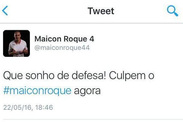 Tweet atribuído a Maicon causou polémica, mas foi esclarecido