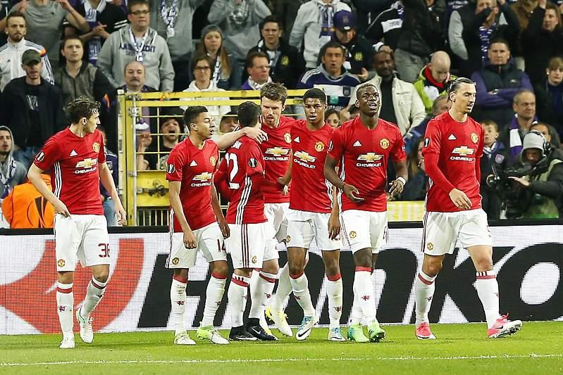 Manchester United festeja golo frente ao Anderlecht