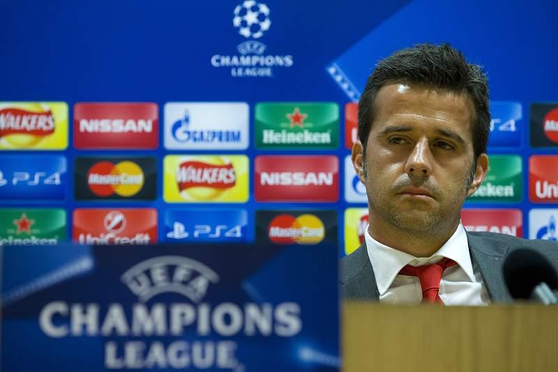 Marco Silva durante a conferência de imprensa de antevisão do jogo com o Arsenal