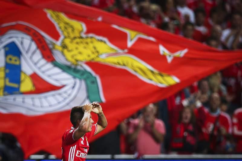 Franco Cervi celebra o golo do Benfica frente ao Besiktas