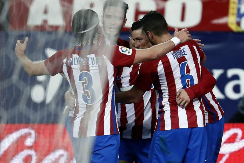 Fernando Torres celebra um golo do Atlético Madrid sobre o Leganés
