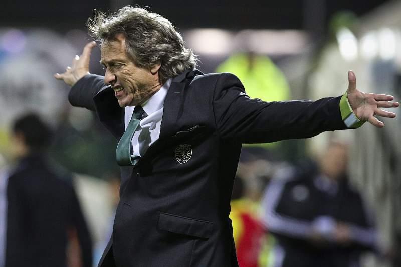 Jorge Jesus reage durante o jogo do Sporting frente ao União da Madeira