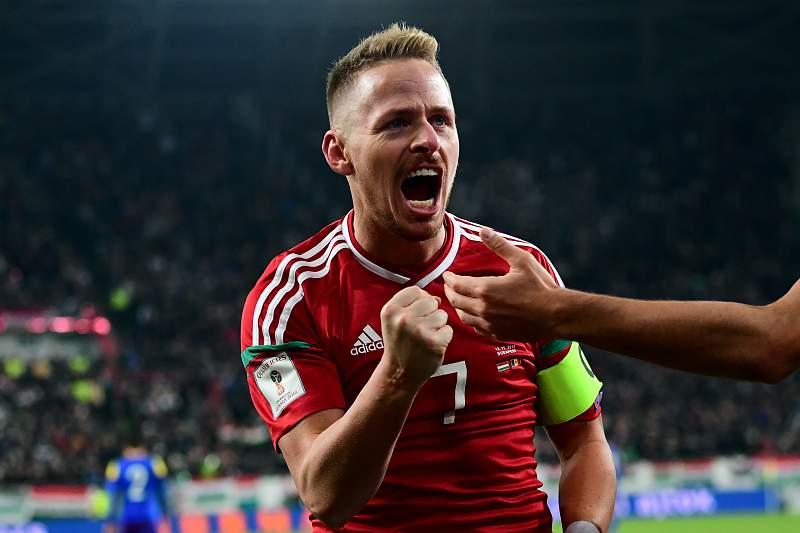 Balázs Dzsudzsák celebra um golo pela Hungria