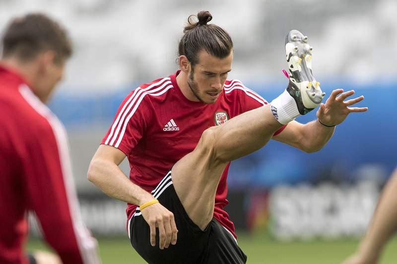 Gareth Bale durente um treino da seleção do País de Gales durante o Euro2016