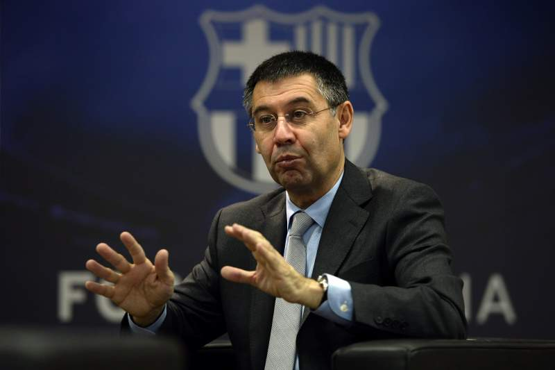 FC Barcelona's president Josep Maria Bartomeu answers to AFP journalists during an interview at Camp Nou stadium in Barcelona on March 24, 2014. Bartomeu has insisted that Lionel Messi will become the world's highest paid footballer once negotiations over his new contract are finalised. AFP PHOTO/ LLUIS GENE