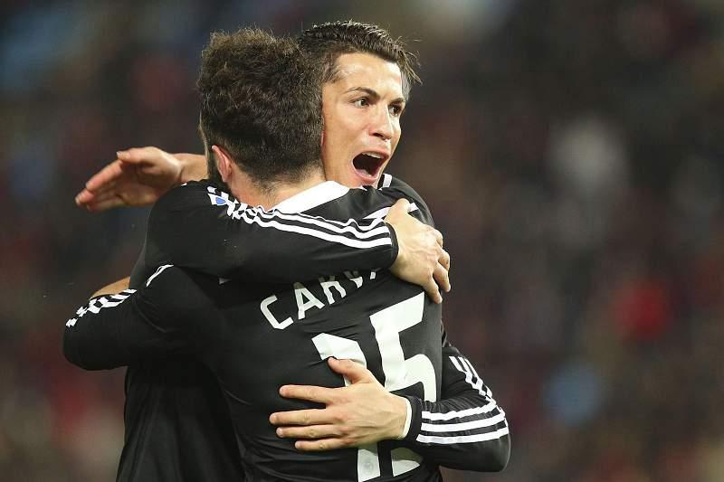 Carvajal festeja golo com Cristiano Ronaldo