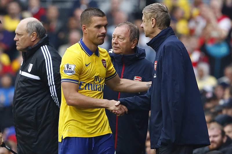Podolski tinha pouco espaço no Arsenal