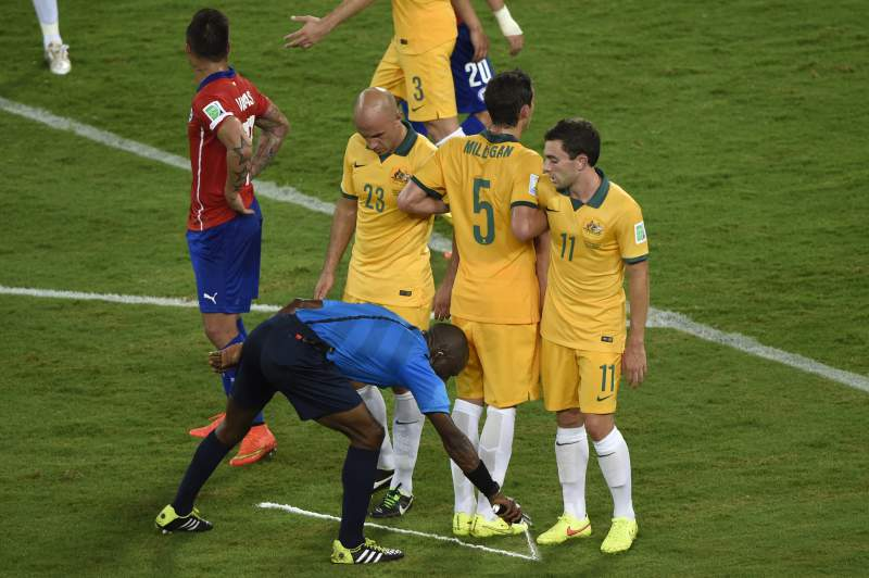 Spray de marcação no futebol