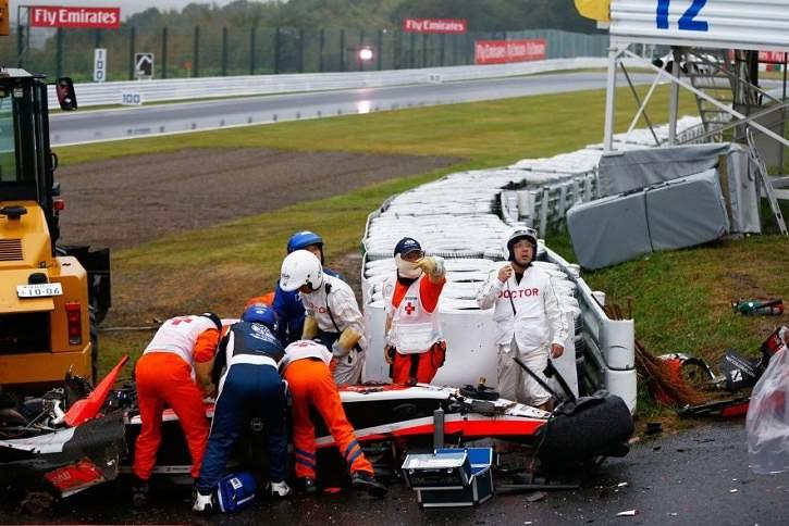 Jules Biancghi, piloto da Marussia, sofreu lesão grave num acidente no Japão