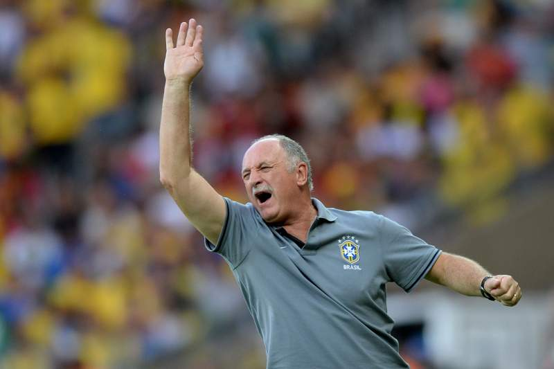 Brazil's coach Luiz Felipe Scolari gestures during the FIFA Confederations Cup Brazil 2013 semifinal football match against Uruguay, at the Mineirao Stadium in Belo Horizonte on June 26, 2013. AFP PHOTO / VANDERLEI ALMEIDA
